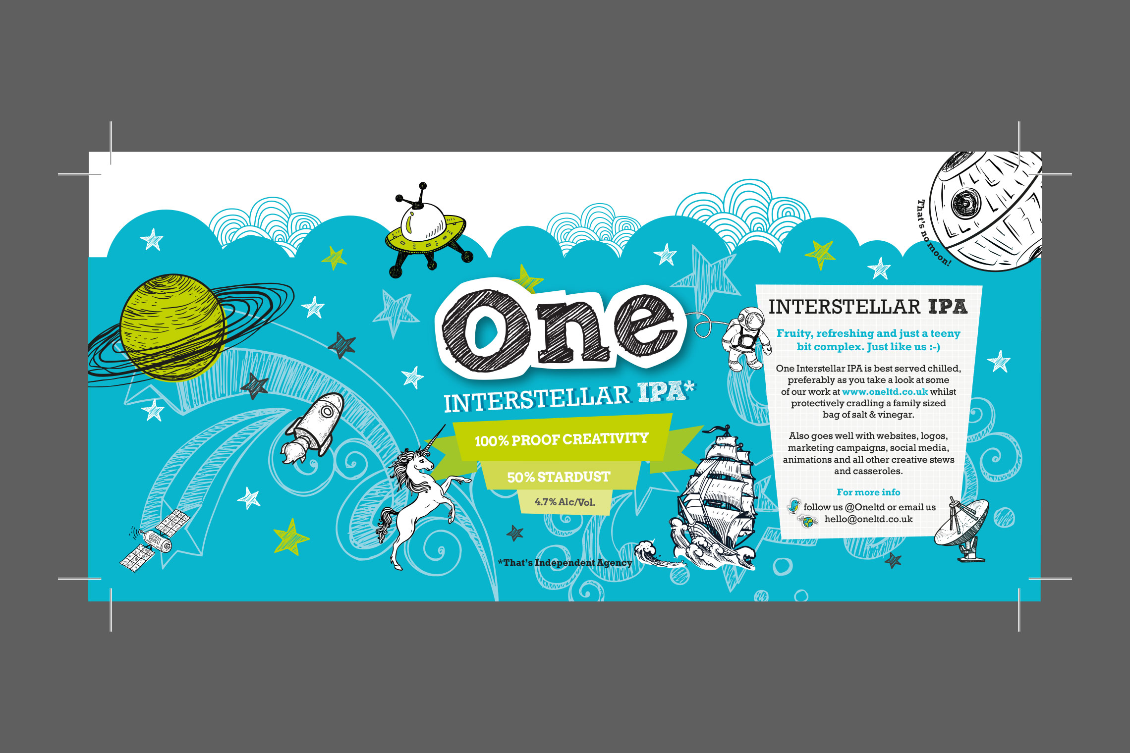 Beer Label for One Ltd with crop marks | Made by Miranda | © Miranda Dawson | madebymiranda.co.uk