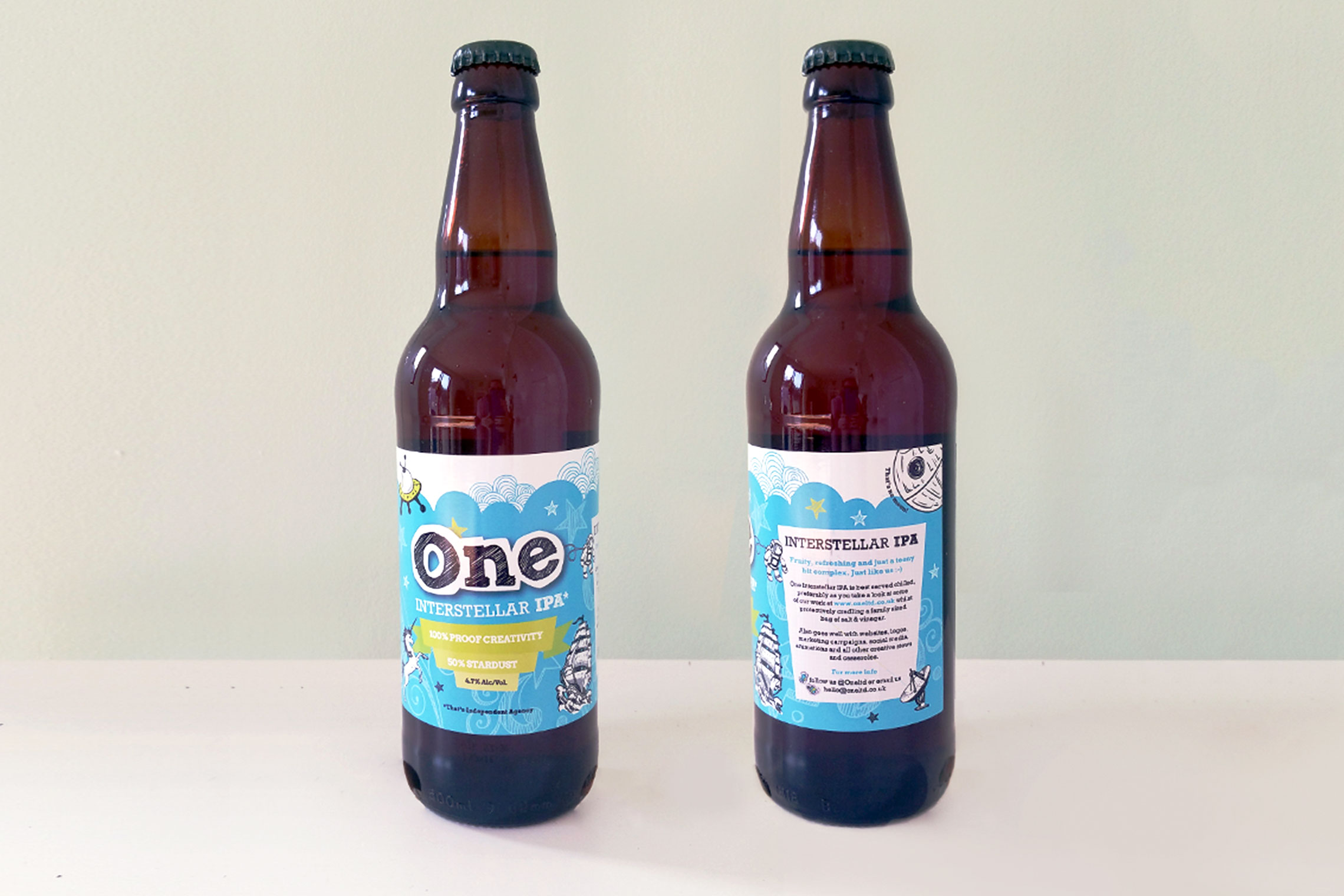 Beer bottles with One Ltd beer label - front and back view | Made by Miranda | © Miranda Dawson | madebymiranda.co.uk